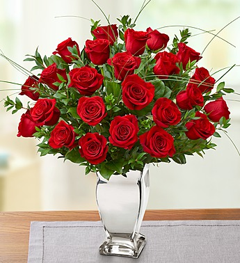 Long Stem Red Roses In Vase